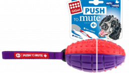 Gigwi Rugby Push To Mute Solid Ball Dog Toy - Red/Purple