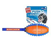 Gigwi Rugby Push To Mute Solid Ball Dog Toy - Blue/Orange